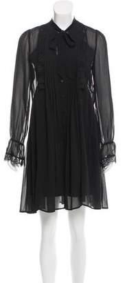 The Kooples Lace-Trimmed Mini Dress