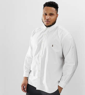 big & tall oxford shirt with button down collar in white