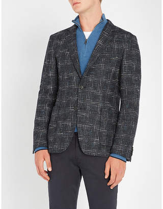 BOSS Contrast woven wool-blend jacket