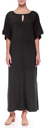 Joan Vass Keyhole-Front Long Dolman Dress, Plus Size