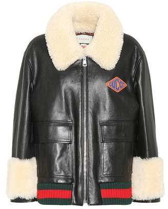 Gucci Shearling-lined leather jacket