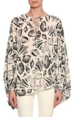 Alexander McQueen Cabinet of Shells Print Silk Cocoon Tunic
