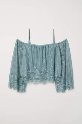H&M Lace Off-the-shoulder Dress - Turquoise