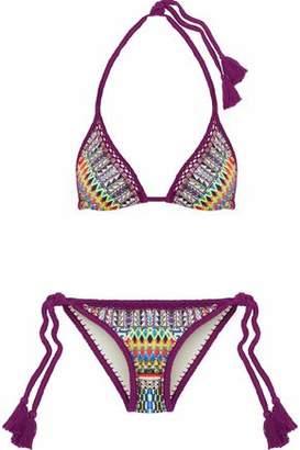 Camilla Crochet-Trimmed Crystal-Embellished Printed Triangle Bikini