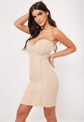 Missguided Champagne Seam Detail Strapless Bodycon Mini Dress