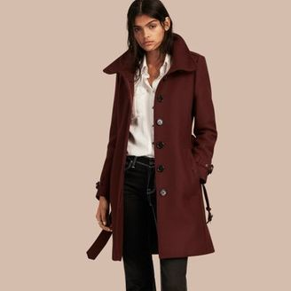 Burberry Technical Wool Cashmere Funnel Neck Coat $1,095 thestylecure.com