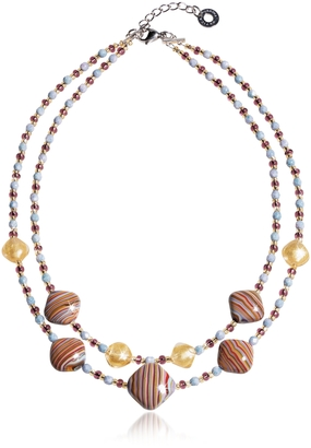 Antica Murrina Millerighe 2 Double - Pastel Multicolor Murano Glass w/Stripes and Gold Leaf Choker $138 thestylecure.com