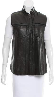 O'2nd Contrast Leather Vest