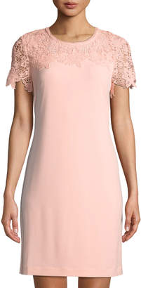 Karl Lagerfeld Paris Lace-Yoke Jersey Sheath Dress