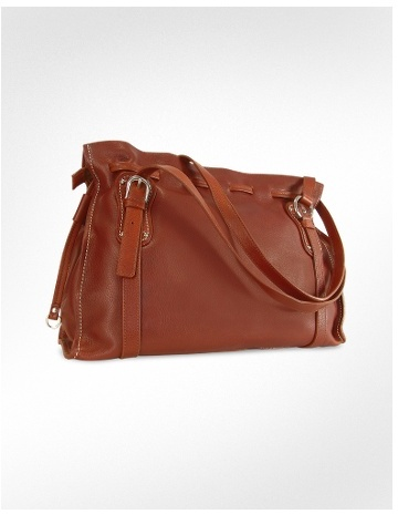 Nuovedive Chesnut Brown Italian Leather Large Tote Bag