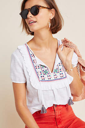 af89b24b29f2aa Anthropologie Kiki Embroidered Peasant Blouse