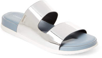 Calvin Klein Silver Diona Double Band Flat Sandals