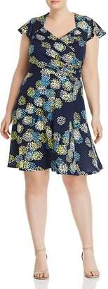 Leota Plus Printed Faux-Wrap Flutter Dress