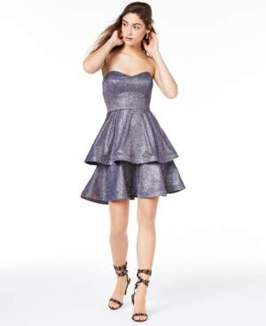 Teeze Me Juniors' Strapless Tiered Metallic Dress