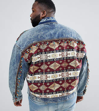 Asos DESIGN Plus oversized denim jacket with back print and beading
