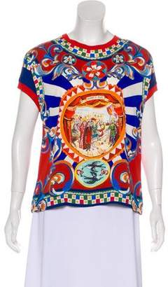 Dolce & Gabbana Sicilian Print Silk-Blend T-Shirt