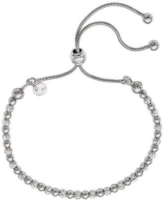 Italian Silver Beaded Adjustable Bracelet, 6.4g