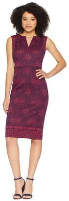 Maggy London Indonesian Star Printed Scuba Split-Neck Sheath Women's Dress