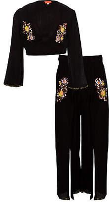 River Island Girls black sequin crop top beach outfit