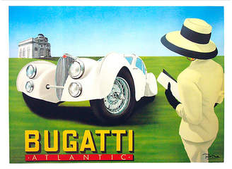 One Kings Lane Vintage Bugatti Classic Car Poster - Vintage European Posters