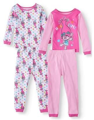 Trolls Toddler Girls Cotton Tight Fit Pajamas, 4Pc Set