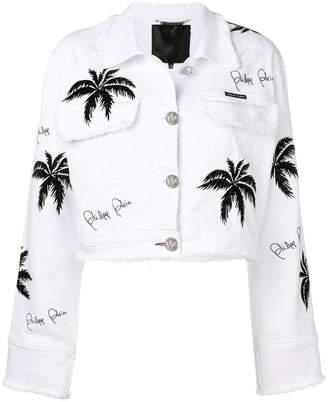 Philipp Plein palm tree denim jacket