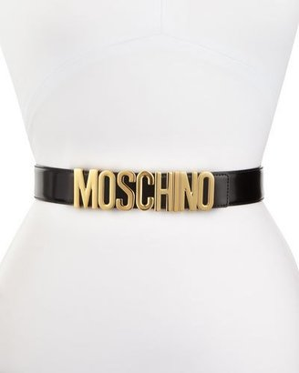 Moschino Wide Leather Logo-Buckle Belt, Black $295 thestylecure.com