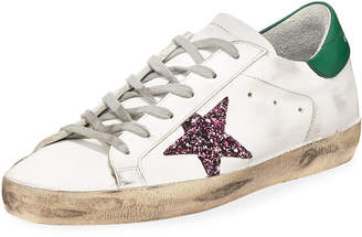 Golden Goose Superstar Leather Low-Top Platform Sneakers, White/Green
