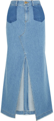 SEA - Denim Maxi Skirt - Mid denim $365 thestylecure.com