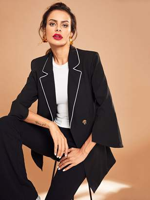 Shein Contrast Tipping Double Breasted Blazer