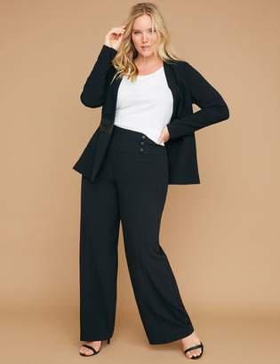 Lane Bryant Allie Tailored Stretch Wide Leg Pant - Faux Leather Buttons