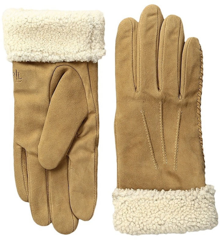 Lauren Ralph Lauren LAUREN Ralph Lauren Suede & Shearling Thinsulate Gloves
