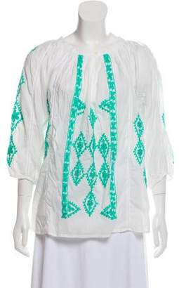 Melissa Odabash Embroidered Long Sleeve Top w/ Tags