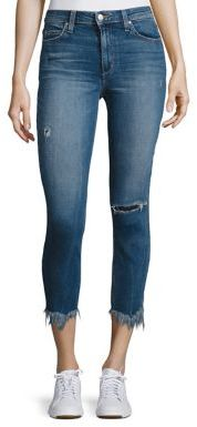 Joe's Charlie High-Rise Distressed Cropped Raw-Edge Skinny Jeans $198 thestylecure.com