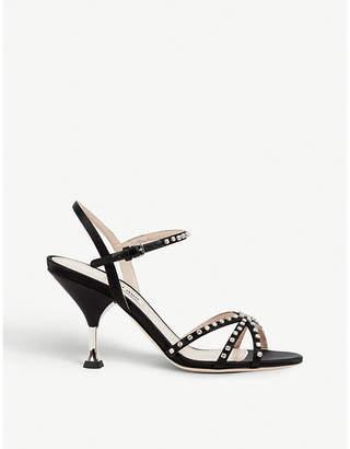 Miu Miu Crystal-embellished satin sandals