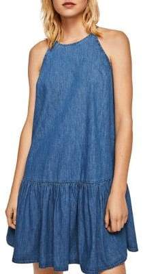 MANGO Nina Frill Denim Short Dress