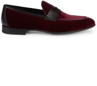 Magnanni Dorado Leather-Trim Velvet Penny Loafers