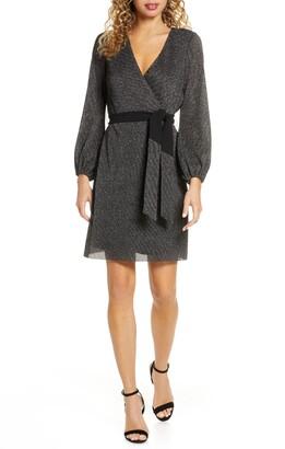 Sam Edelman Sparkle Long Sleeve Faux Wrap Dress