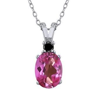 Black Diamond Gem Stone King 1.57 Ct Oval Pink Mystic Topaz 925 Sterling Silver Pendant