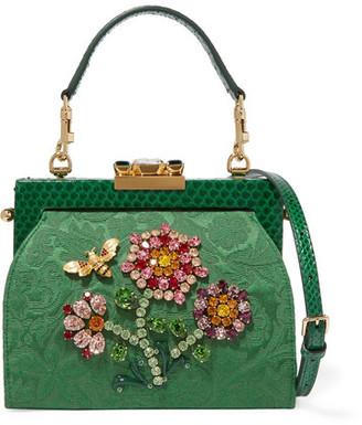 Dolce & Gabbana - Vanda Embellished Jacquard And Python Shoulder Bag - Green $4,445 thestylecure.com