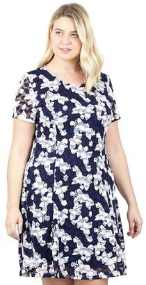 9adbb78ef32 at Debenhams · Izabel London CURVE Curve - Navy Floral Fit   Flare Dress