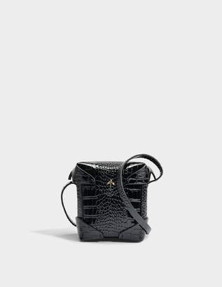 Micro Pristine Bag with Croc Print Leather Strap in Black Croc Print Patent Calf