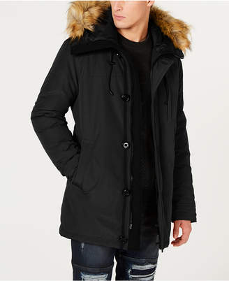 GUESS Men Hooded Parka with Removable Faux-Fur Trim