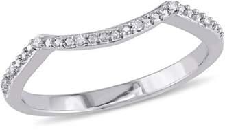 Miabella Diamond-Accent Sterling Silver Contour Wedding Band