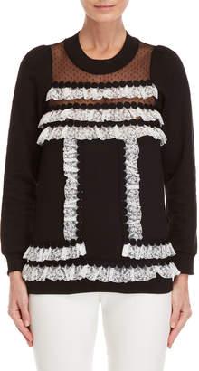 Giamba Point D'Esprit Lace Trim Sweatshirt