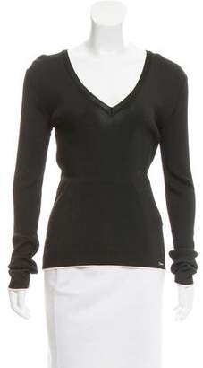 Just Cavalli Ribbed V-Neck Top w/ Tags