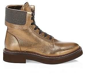 Brunello Cucinelli Women's Metallic Textured Leather Combat Boots