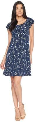 CeCe Puffed Sleeve Graceful Floral Knit Dress Women's Dress