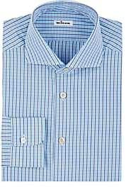 Kiton Men's Checked Cotton Dress Shirt - Turquoise