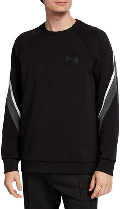 Karl Lagerfeld Paris Men's Striped Logo Pullover